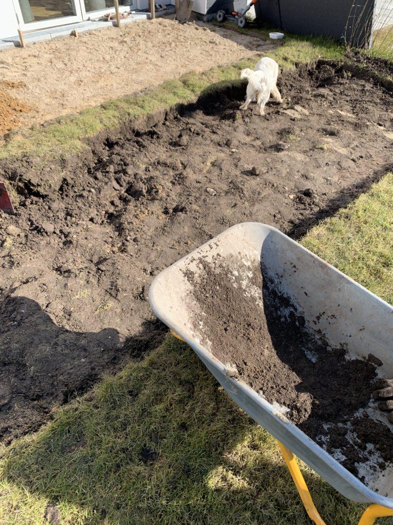Udgravning træ terrasse